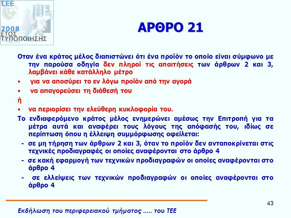 Εκδήλωση του περιφερειακού τμήματος..... του ΤΕΕ 43 ΑΡΘΡΟ 21 Οταν ένα κράτος μέλος διαπιστώνει ότι ένα προϊόν το οποίο είναι σύμφωνο με την παρούσα οδ
