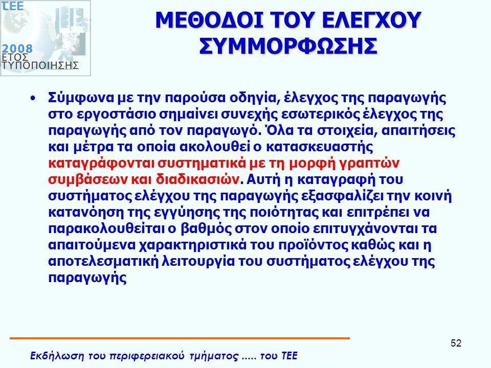 Εκδήλωση του περιφερειακού τμήματος..... του ΤΕΕ 52 ΜΕΘΟΔΟΙ ΤΟΥ ΕΛΕΓΧΟΥ ΣΥΜΜΟΡΦΩΣΗΣ •Σύμφωνα με την παρούσα οδηγία, έλεγχος της παραγωγής στο εργοστάσ
