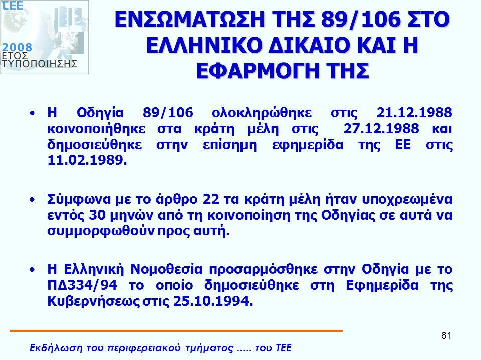 Εκδήλωση του περιφερειακού τμήματος..... του ΤΕΕ 61 ΕΝΣΩΜΑΤΩΣΗ ΤΗΣ 89/106 ΣΤΟ ΕΛΛΗΝΙΚΟ ΔΙΚΑΙΟ ΚΑΙ Η ΕΦΑΡΜΟΓΗ ΤΗΣ •Η Οδηγία 89/106 ολοκληρώθηκε στις 21