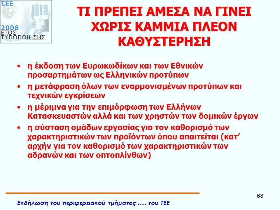 Εκδήλωση του περιφερειακού τμήματος..... του ΤΕΕ 68 ΤΙ ΠΡΕΠΕΙ ΑΜΕΣΑ ΝΑ ΓΙΝΕΙ ΧΩΡΙΣ ΚΑΜΜΙΑ ΠΛΕΟΝ ΚΑΘΥΣΤΕΡΗΣΗ •η έκδοση των Ευρωκωδίκων και των Εθνικών