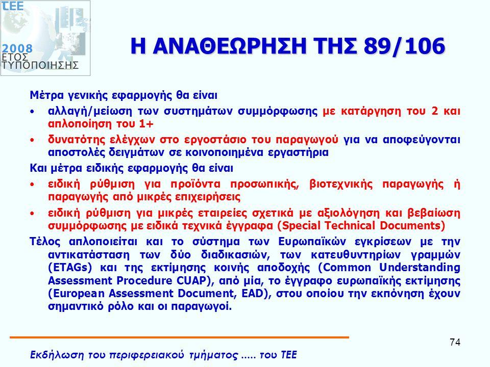 Εκδήλωση του περιφερειακού τμήματος..... του ΤΕΕ 74 Η ΑΝΑΘΕΩΡΗΣΗ ΤΗΣ 89/106 Mέτρα γενικής εφαρμογής θα είναι •αλλαγή/μείωση των συστημάτων συμμόρφωσης