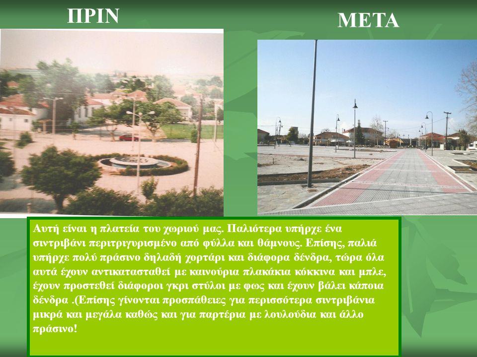 Αυτή είναι η πλατεία του χωριού μας. Παλιότερα υπήρχε ένα σιντριβάνι περιτριγυρισμένο από φύλλα και θάμνους. Επίσης, παλιά υπήρχε πολύ πράσινο δηλαδή