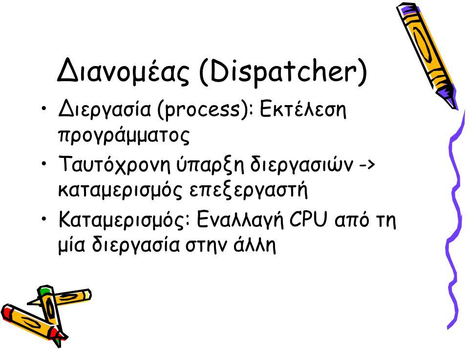 Διανομέας (Dispatcher) •Διεργασία (process): Εκτέλεση προγράμματος •Ταυτόχρονη ύπαρξη διεργασιών -> καταμερισμός επεξεργαστή •Καταμερισμός: Εναλλαγή CPU από τη μία διεργασία στην άλλη