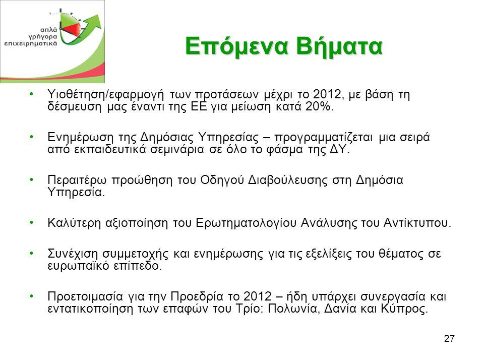 27 Επόμενα Βήματα •Yιοθέτηση/εφαρμογή των προτάσεων μέχρι το 2012, με βάση τη δέσμευση μας έναντι της ΕΕ για μείωση κατά 20%.