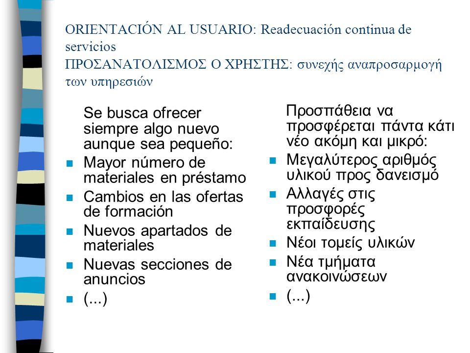 Desarrollo nuevas formas de organización.Secciones especiales Ανάπτυξη νέων μορφών οργάνωσης.