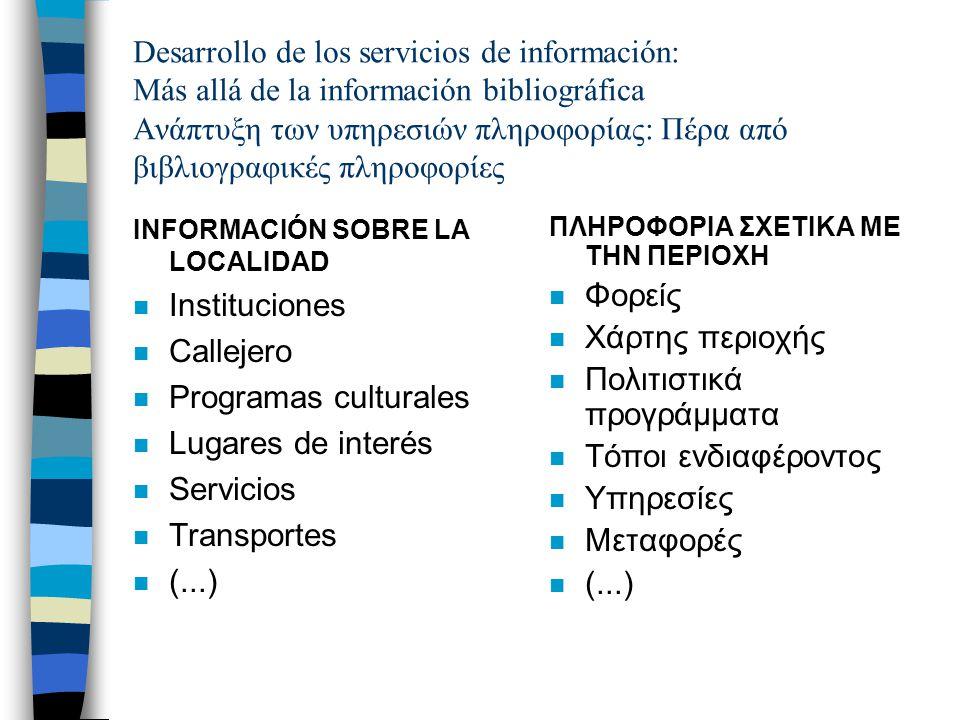 Desarrollo de los servicios de información: Más allá de la información bibliográfica Ανάπτυξη των υπηρεσιών πληροφορίας: Πέρα από βιβλιογραφικές πληροφορίες INFORMACIÓN SOBRE LA LOCALIDAD n Instituciones n Callejero n Programas culturales n Lugares de interés n Servicios n Transportes n (...) ΠΛΗΡΟΦΟΡΙΑ ΣΧΕΤΙΚΑ ΜΕ ΤΗΝ ΠΕΡΙΟΧΗ n Φορείς n Χάρτης περιοχής n Πολιτιστικά προγράμματα n Τόποι ενδιαφέροντος n Υπηρεσίες n Μεταφορές n (...)