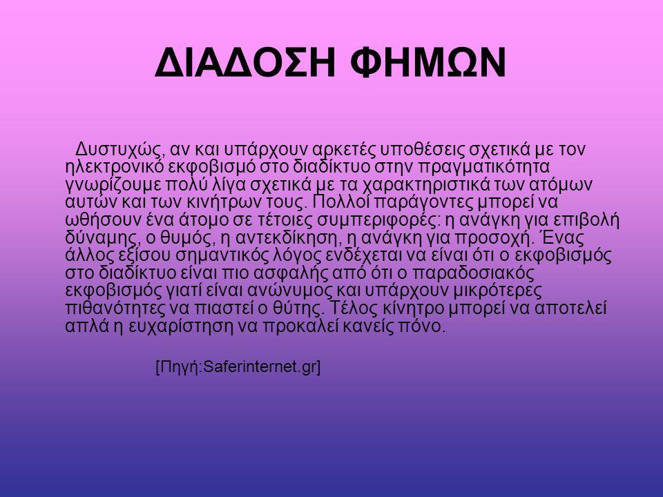 ΒΙΒΛΙΟΓΡΑΦΙΑ - ΠΗΓΕΣ •WIKIPEDIA •SAFERINTERNET.GR •http://www.saferinternet.gr/index.php?childobjId=Cat egory143&objId=Category43&parentobjId=Page3http://www.saferinternet.gr/index.php?childobjId=Cat egory143&objId=Category43&parentobjId=Page3 •http://www.inews.gr/135/klopi-taftotitas-meso-tou- Facebook-profile.hthttp://www.inews.gr/135/klopi-taftotitas-meso-tou- Facebook-profile.ht
