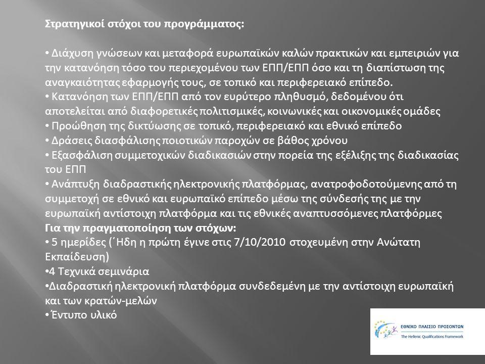 Αναμενόμενα αποτελέσματα : •Θετική στάση των φορέων και των ατόμων στο EQF/NQF •Απόκτηση καλών πρακτικών από τις παρεμβάσεις σε διαφορετικές ομάδες πληθυσμού (εκπαιδευόμενοι, εκπαιδευτές, εργαζόμενοι, εργοδότες άνεργοι) και σε κοινωνικούς εταίρους) •Ανάπτυξη διαδραστικής διαδικασίας μεταξύ των κοινωνικών εταίρων και του Εθνικού Σημείου Συντονισμού (NCP) •Πρόκληση του ενδιαφέροντος για το θέμα μέσω της ενεργούς συμμετοχής ιδίως ανάμεσα στους νέους με τη χρήση του διαδικτύου.