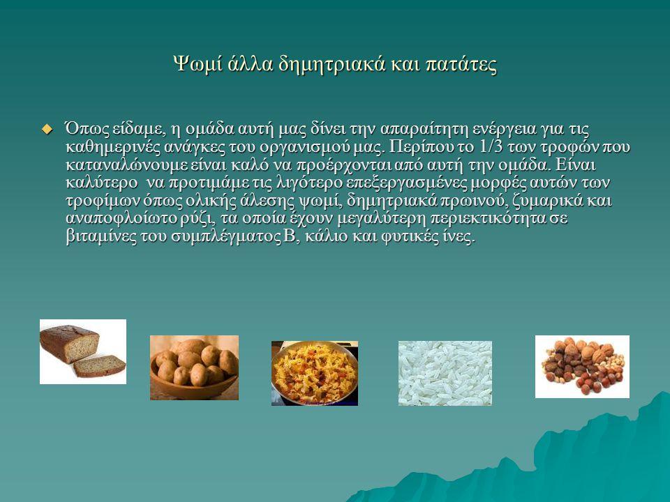 Ψωμί άλλα δημητριακά και πατάτες  Όπως είδαμε, η ομάδα αυτή μας δίνει την απαραίτητη ενέργεια για τις καθημερινές ανάγκες του οργανισμού μας. Περίπου