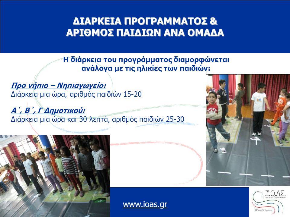 www.ioas.gr ΔΙΑΡΚΕΙΑ ΠΡΟΓΡΑΜΜΑΤΟΣ & ΑΡΙΘΜΟΣ ΠΑΙΔΙΩΝ ΑΝΑ ΟΜΑΔΑ Η διάρκεια του προγράμματος διαμορφώνεται ανάλογα με τις ηλικίες των παιδιών: Προ νήπιο