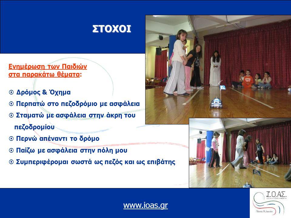 www.ioas.gr ΣΤΟΧΟI Ενημέρωση των Παιδιών στα παρακάτω θέματα:  Δρόμος & Όχημα  Περπατώ στο πεζοδρόμιο με ασφάλεια  Σταματώ με ασφάλεια στην άκρη του πεζοδρομίου  Περνώ απέναντι το δρόμο  Παίζω με ασφάλεια στην πόλη μου  Συμπεριφέρομαι σωστά ως πεζός και ως επιβάτης