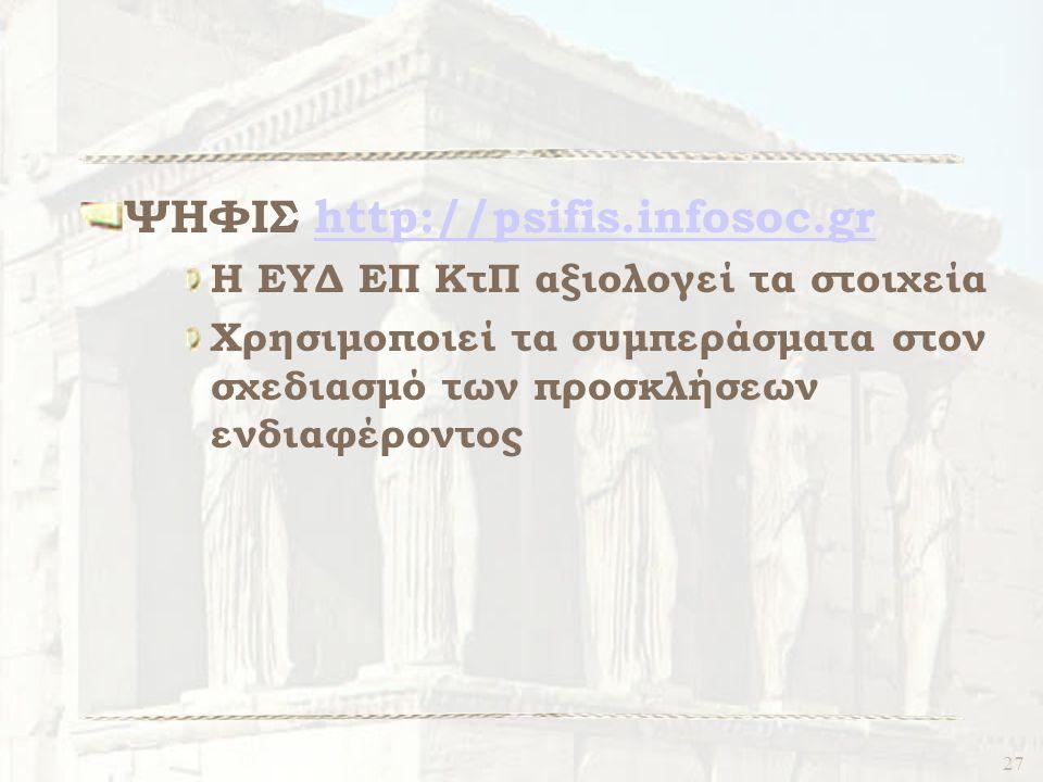 27 ΨΗΦΙΣ http://psifis.infosoc.grhttp://psifis.infosoc.gr Η ΕΥΔ ΕΠ ΚτΠ αξιολογεί τα στοιχεία Χρησιμοποιεί τα συμπεράσματα στον σχεδιασμό των προσκλήσεων ενδιαφέροντος