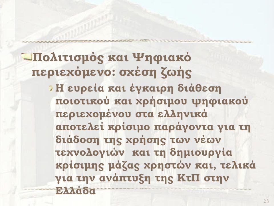 28 Πολιτισμός και Ψηφιακό περιεχόμενο: σχέση ζωής Η ευρεία και έγκαιρη διάθεση ποιοτικού και χρήσιμου ψηφιακού περιεχομένου στα ελληνικά αποτελεί κρίσιμο παράγοντα για τη διάδοση της χρήσης των νέων τεχνολογιών και τη δημιουργία κρίσιμης μάζας χρηστών και, τελικά για την ανάπτυξη της ΚτΠ στην Ελλάδα