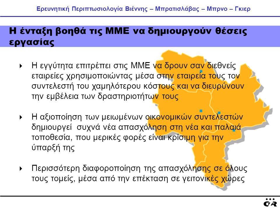 Ερευνητική Περιπτωσιολογία Βιέννης – Μπρατισλάβας – Μπρνο – Γκιερ Η ένταξη βοηθά τις ΜΜΕ να δημιουργούν θέσεις εργασίας  Η εγγύτητα επιτρέπει στις ΜΜ