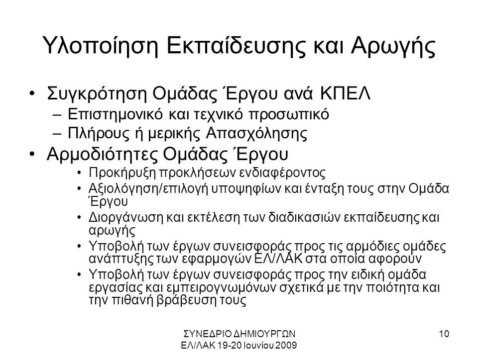 ΣΥΝΕΔΡΙΟ ΔΗΜΙΟΥΡΓΩΝ ΕΛ/ΛΑΚ 19-20 Ιουνίου 2009 10 Υλοποίηση Εκπαίδευσης και Αρωγής •Συγκρότηση Ομάδας Έργου ανά ΚΠΕΛ –Επιστημονικό και τεχνικό προσωπικό –Πλήρους ή μερικής Απασχόλησης •Αρμοδιότητες Ομάδας Έργου •Προκήρυξη προκλήσεων ενδιαφέροντος •Αξιολόγηση/επιλογή υποψηφίων και ένταξη τους στην Ομάδα Έργου •Διοργάνωση και εκτέλεση των διαδικασιών εκπαίδευσης και αρωγής •Υποβολή των έργων συνεισφοράς προς τις αρμόδιες ομάδες ανάπτυξης των εφαρμογών ΕΛ/ΛΑΚ στα οποία αφορούν •Υποβολή των έργων συνεισφοράς προς την ειδική ομάδα εργασίας και εμπειρογνωμόνων σχετικά με την ποιότητα και την πιθανή βράβευση τους