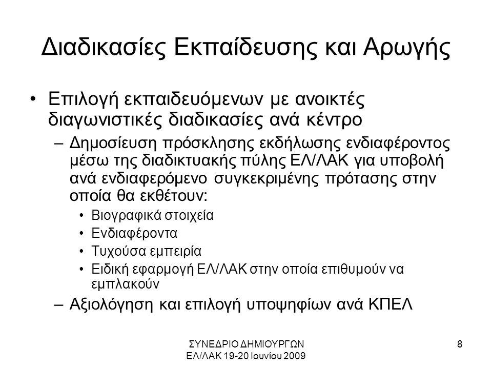 ΣΥΝΕΔΡΙΟ ΔΗΜΙΟΥΡΓΩΝ ΕΛ/ΛΑΚ 19-20 Ιουνίου 2009 9 Διαδικασίες Εκπαίδευσης και Αρωγής •Παροχή σεμιναρίων και πρακτικής εκπαίδευσης (εργαστηρίων) με αναλογία 1 προς 3.
