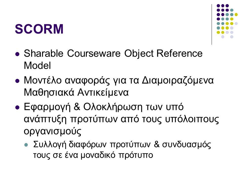 SCORM  Sharable Courseware Object Reference Model  Μοντέλο αναφοράς για τα Διαμοιραζόμενα Μαθησιακά Αντικείμενα  Εφαρμογή & Ολοκλήρωση των υπό ανάπ