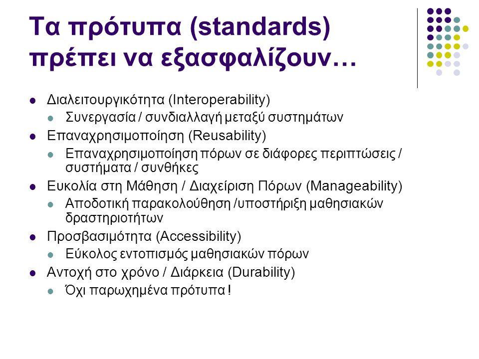 Τα πρότυπα (standards) πρέπει να εξασφαλίζουν…  Διαλειτουργικότητα (Interoperability)  Συνεργασία / συνδιαλλαγή μεταξύ συστημάτων  Επαναχρησιμοποίη