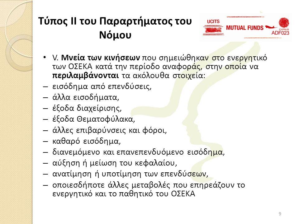 • V. Μνεία των κινήσεων που σημειώθηκαν στο ενεργητικό των ΟΣΕΚΑ κατά την περίοδο αναφοράς, στην οποία να περιλαμβάνονται τα ακόλουθα στοιχεία: – εισό