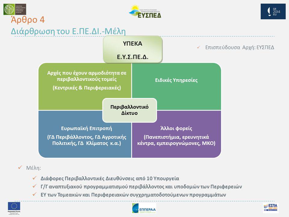  Επισπεύδουσα Αρχή : ΕΥΣΠΕΔ  Μέλη :  Διάφορες Περιβαλλοντικές Διευθύνσεις από 10 Υπουργεία  Γ / Γ αναπτυξιακού προγραμματισμού περιβάλλοντος και υποδομών των Περιφερειών  ΕΥ των Τομεακών και Περιφερειακών συγχρηματοδοτούμενων προγραμμάτων Άρθρο 4 Διάρθρωση του Ε.