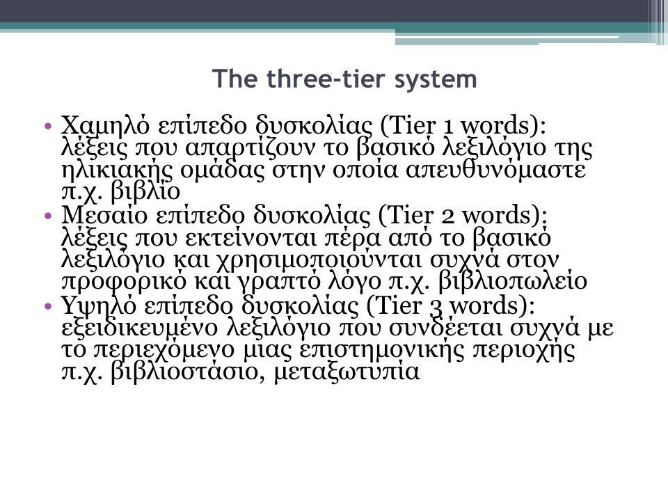 •Χαμηλό επίπεδο δυσκολίας (Tier 1 words): λέξεις που απαρτίζουν το βασικό λεξιλόγιο της ηλικιακής ομάδας στην οποία απευθυνόμαστε π.χ. βιβλίο •Μεσαίο