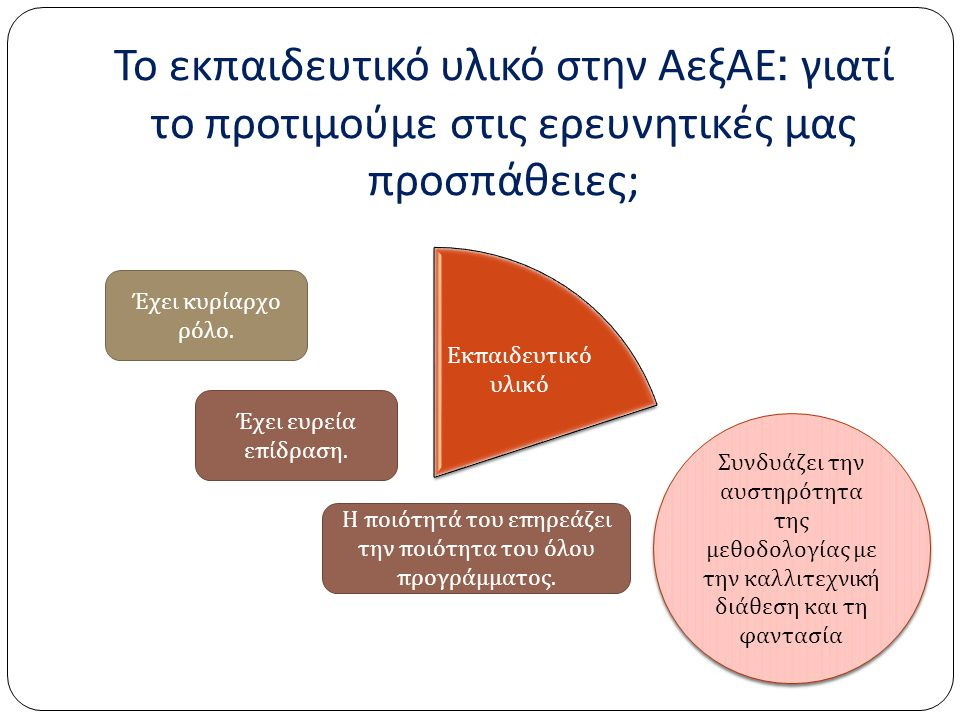 Το εκπαιδευτικό υλικό στην ΑεξΑΕ : γιατί το προτιμούμε στις ερευνητικές μας προσπάθειες ; Εκ π αιδευτικό υλικό Έχει κυρίαρχο ρόλο. Έχει ευρεία ε π ίδρ