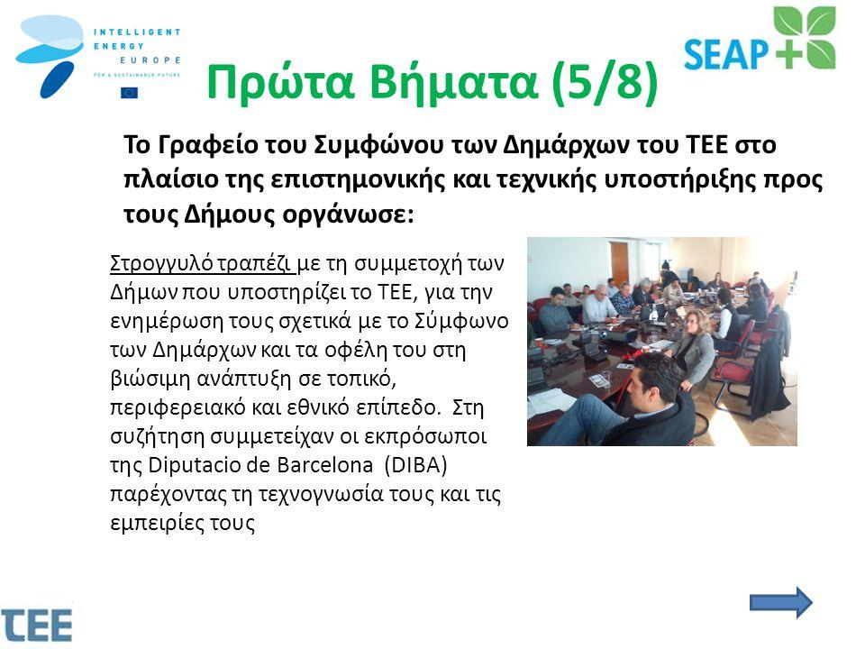 Πρώτα Βήματα (5/8) Το Γραφείο του Συμφώνου των Δημάρχων του ΤΕΕ στο πλαίσιο της επιστημονικής και τεχνικής υποστήριξης προς τους Δήμους οργάνωσε: Στρογγυλό τραπέζι με τη συμμετοχή των Δήμων που υποστηρίζει το ΤΕΕ, για την ενημέρωση τους σχετικά με το Σύμφωνο των Δημάρχων και τα οφέλη του στη βιώσιμη ανάπτυξη σε τοπικό, περιφερειακό και εθνικό επίπεδο.