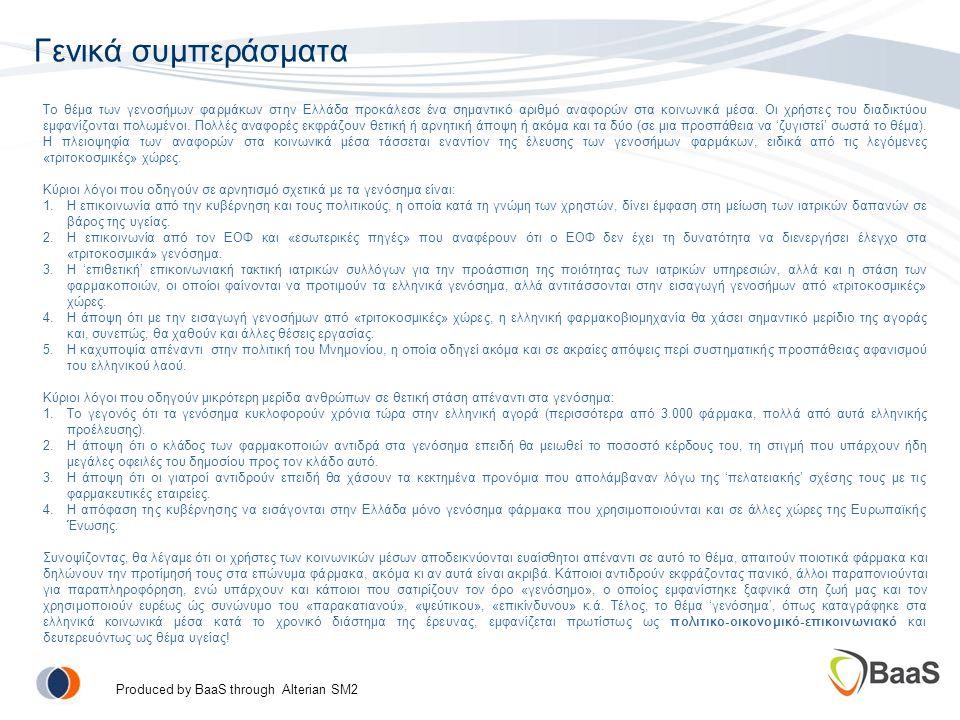 Γενικά συμπεράσματα Το θέμα των γενοσήμων φαρμάκων στην Ελλάδα προκάλεσε ένα σημαντικό αριθμό αναφορών στα κοινωνικά μέσα.