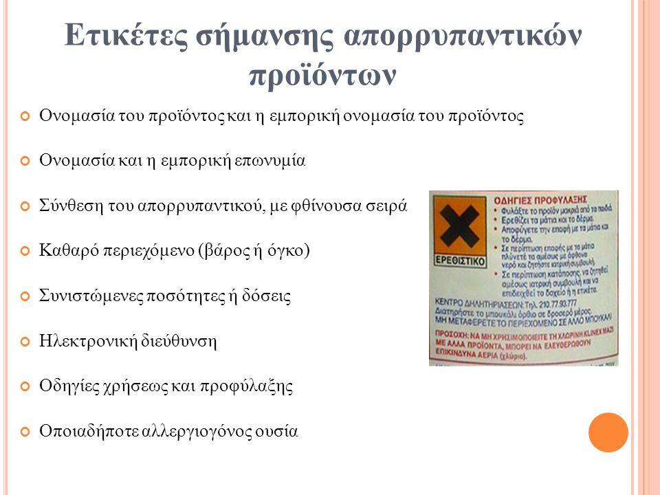 Ετικέτες σήμανσης απορρυπαντικών προϊόντων Ονομασία του προϊόντος και η εμπορική ονομασία του προϊόντος Ονομασία και η εμπορική επωνυμία Σύνθεση του α