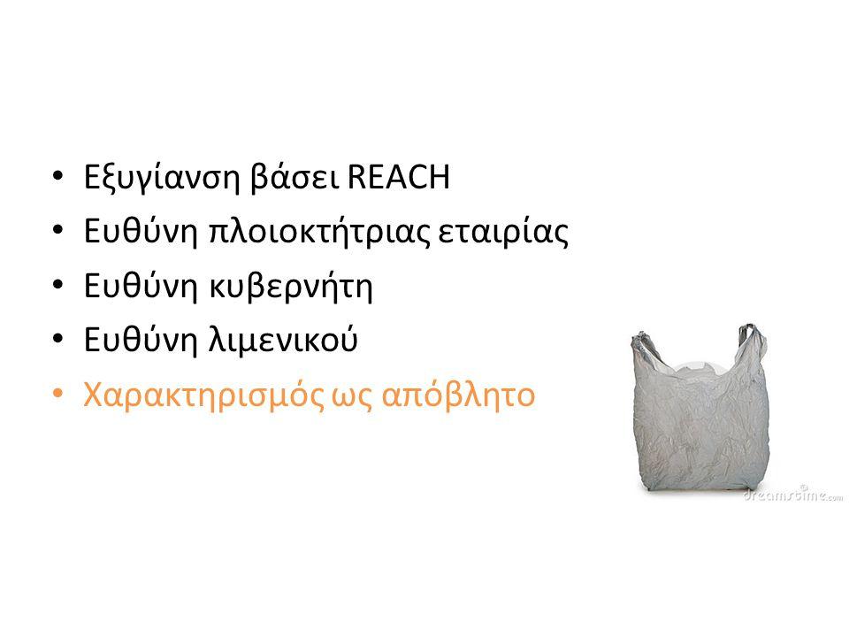 • Εξυγίανση βάσει REACH • Ευθύνη πλοιοκτήτριας εταιρίας • Ευθύνη κυβερνήτη • Ευθύνη λιμενικού • Χαρακτηρισμός ως απόβλητο • Αρχή «Ο ρυπαίνων πληρώνει»
