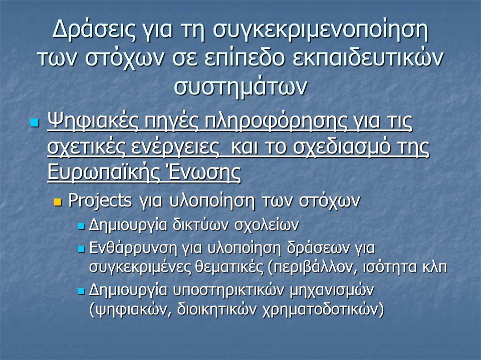 Δράσεις για τη συγκεκριμενοποίηση των στόχων σε επίπεδο εκπαιδευτικών συστημάτων  Ψηφιακές πηγές πληροφόρησης για τις σχετικές ενέργειες και το σχεδιασμό της Ευρωπαϊκής Ένωσης  Projects για υλοποίηση των στόχων  Δημιουργία δικτύων σχολείων  Ενθάρρυνση για υλοποίηση δράσεων για συγκεκριμένες θεματικές (περιβάλλον, ισότητα κλπ  Δημιουργία υποστηρικτικών μηχανισμών (ψηφιακών, διοικητικών χρηματοδοτικών)