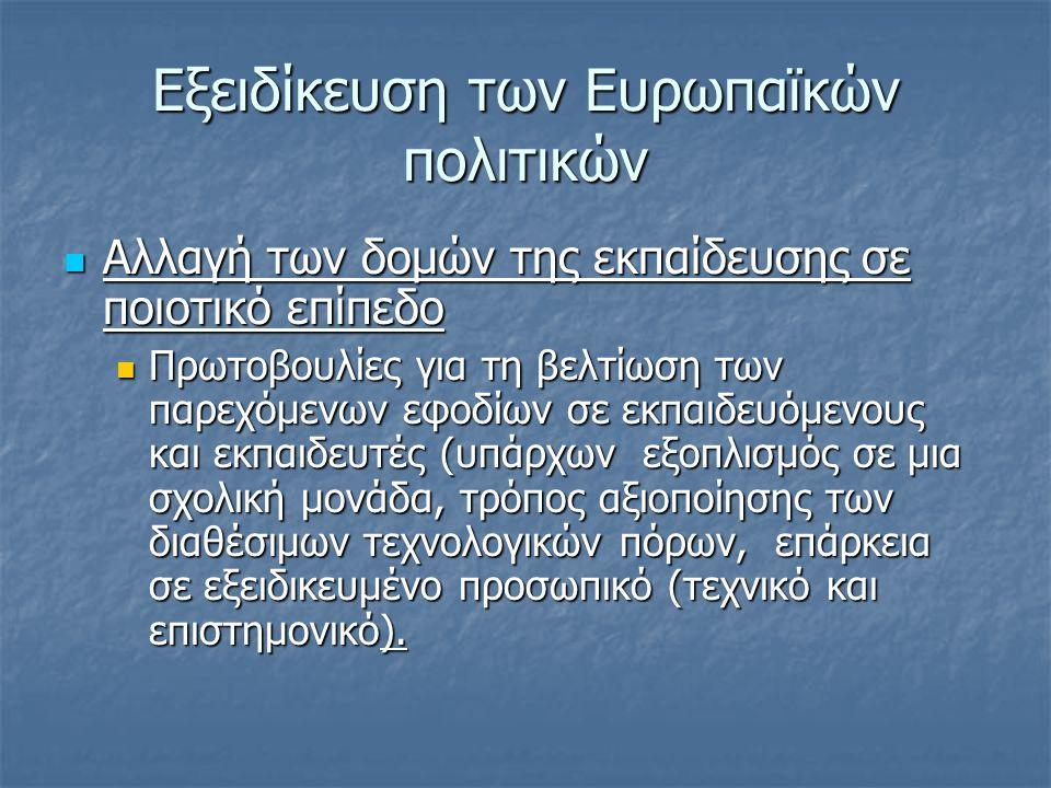 Δράσεις για τη συγκεκριμενοποίηση των στόχων σε Επίπεδο εκπαιδευτικών συστημάτων  Ψηφιακές πηγές πληροφόρησης για τις σχετικές ενέργειες  http://ec.europa.eu/education/programmes/socrat es/socrates_en.html και http://ec.europa.eu/education/index_en.html για το Erasmus :ήδη από τη δεκαετία του 1990, η Ευρωπαϊκή Ένωση προώθησε τις ΤΠΕ στην Εκπαίδευση με πολλά προγράμματα που απευθυνόταν σε ένα ευρύ κοινό, όπως τα γνωστά Socrates, Minerva, GRUNDVIG και άλλα http://ec.europa.eu/education/programmes/socrat es/socrates_en.html http://ec.europa.eu/education/index_en.html http://ec.europa.eu/education/programmes/socrat es/socrates_en.html http://ec.europa.eu/education/index_en.html