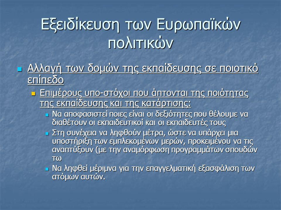 Δράσεις για τη συγκεκριμενοποίηση των στόχων σε Επίπεδο εκπαιδευτικών συστημάτων  Ψηφιακές πηγές πληροφόρησης για τις σχετικές ενέργειες  (http://www.eurescom.de/message/message Oct2005/i2010_The_EUs_new_ICT_strategy.a sp :H νέα πολιτική της ΕΕ για τις ΤΠΕ, αποκαλούμενη i2010, European Information Society 2010 αποτελεί μια επέκταση της Στρατηγικής της Λισσαβόνας http://www.eurescom.de/message/message Oct2005/i2010_The_EUs_new_ICT_strategy.a sphttp://www.eurescom.de/message/message Oct2005/i2010_The_EUs_new_ICT_strategy.a sp