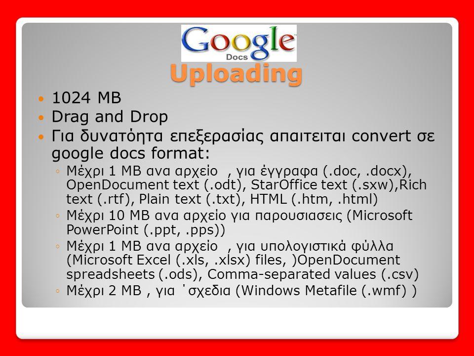 Uploading  1024 MB  Drag and Drop  Για δυνατόητα επεξερασίας απαιτειται convert σε google docs format: ◦Μέχρι 1 ΜΒ ανα αρχείο, για έγγραφα (.doc,.d