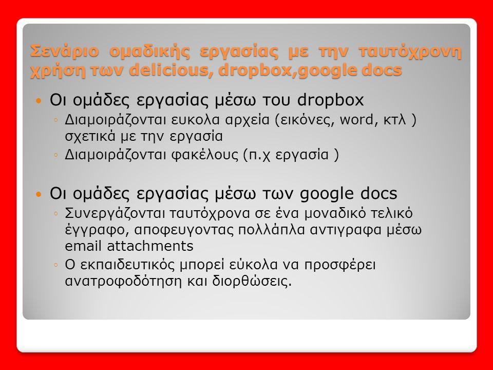  Οι ομάδες εργασίας μέσω του dropbox ◦Διαμοιράζονται ευκολα αρχεία (εικόνες, word, κτλ ) σχετικά με την εργασία ◦Διαμοιράζονται φακέλους (π.χ εργασία