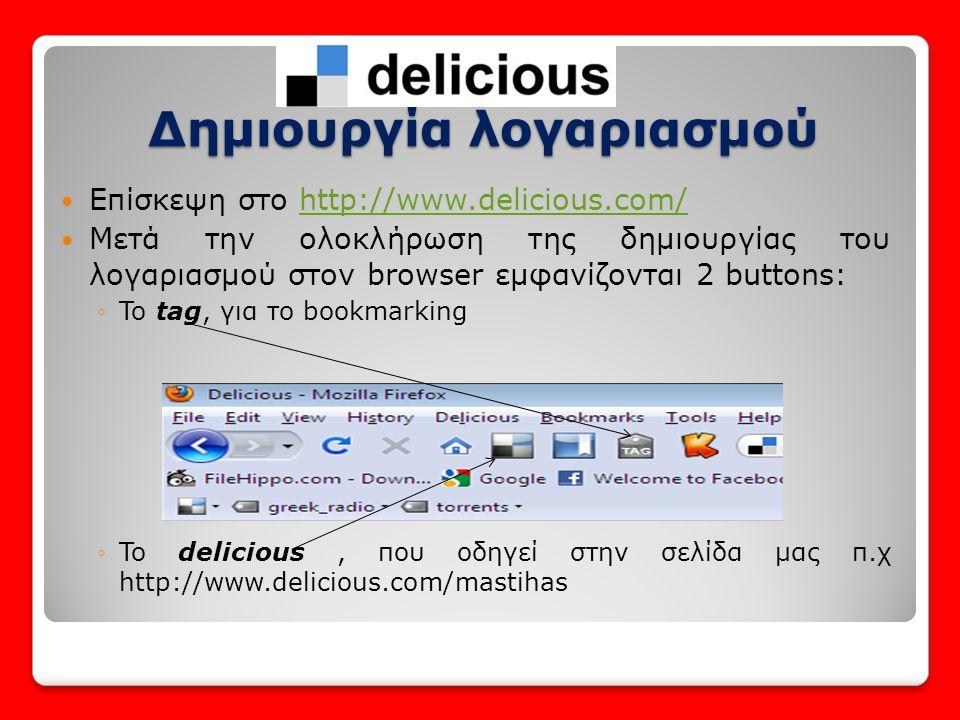  Tag:Λέξη κλειδί που συνδέει παρεμφερή αντικείμενα  Με 2 τρόπους : 1.Με την χρήση του button tag του browser, για την σελίδα την οποία έχουμε επισκεφθεί 2.Χωρίς την χρήση των buttons του browser, με την χρήση ειδικής επιλογής στην σελίδα μας στο delicious Tagging(1)