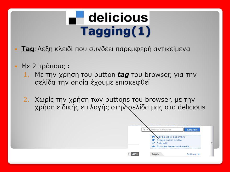  Και με τους 2 τρόπους πρέπει να συμπληρωθεί ο παρακάτω πίνακας: Tagging(2) • Private η public • Το URL της σελίδας • Ο Τίτλος (συνήθως αυτοματα) • Το tag που επιλέγετε • Προτεινόμενα tags