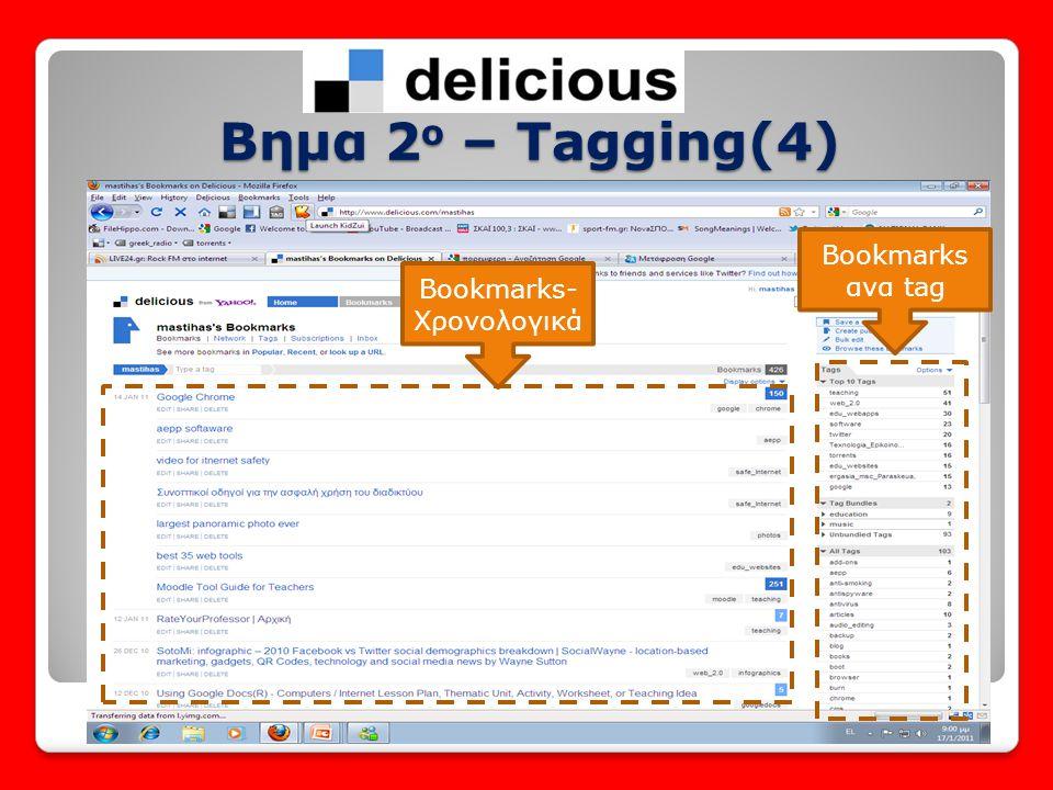 Βημα 2 ο – Tagging(4) Bookmarks ανα tag Bookmarks- Χρονολογικά