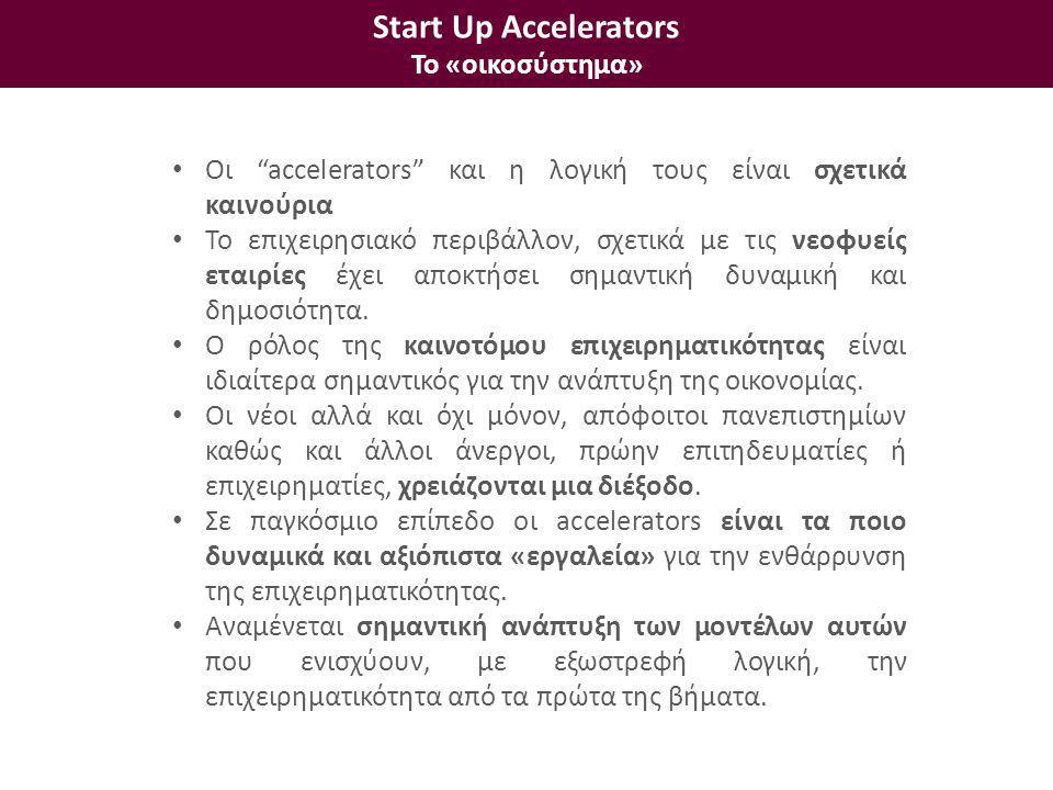 • Οι accelerators και η λογική τους είναι σχετικά καινούρια • Το επιχειρησιακό περιβάλλον, σχετικά με τις νεοφυείς εταιρίες έχει αποκτήσει σημαντική δυναμική και δημοσιότητα.
