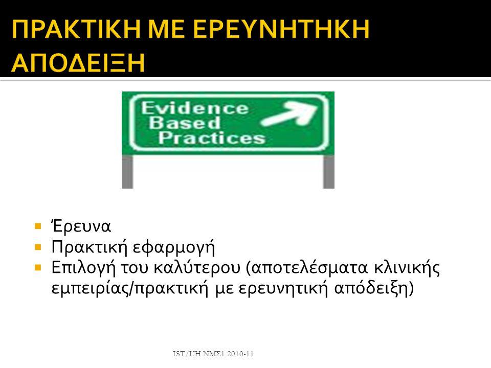  Είναι ο όρος κάτω από τον οποίο λύνουμε ένα πρόβλημα  Πρέπει να συνδυάσουμε την επιστημονική μας γνώση με το πρόβλημα του ασθενή IST/UH ΝΜΣ1 2010-1