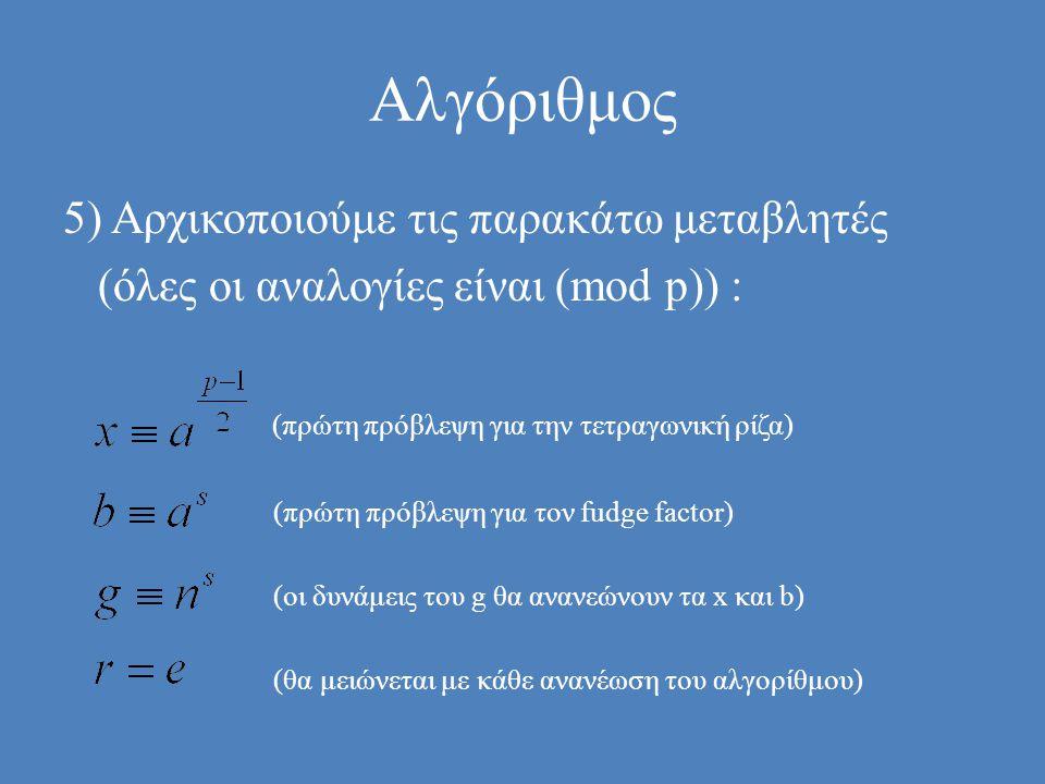 Αλγόριθμος 5) Αρχικοποιούμε τις παρακάτω μεταβλητές (όλες οι αναλογίες είναι (mod p)) : (πρώτη πρόβλεψη για την τετραγωνική ρίζα) (πρώτη πρόβλεψη για τον fudge factor) (οι δυνάμεις του g θα ανανεώνουν τα x και b) (θα μειώνεται με κάθε ανανέωση του αλγορίθμου)