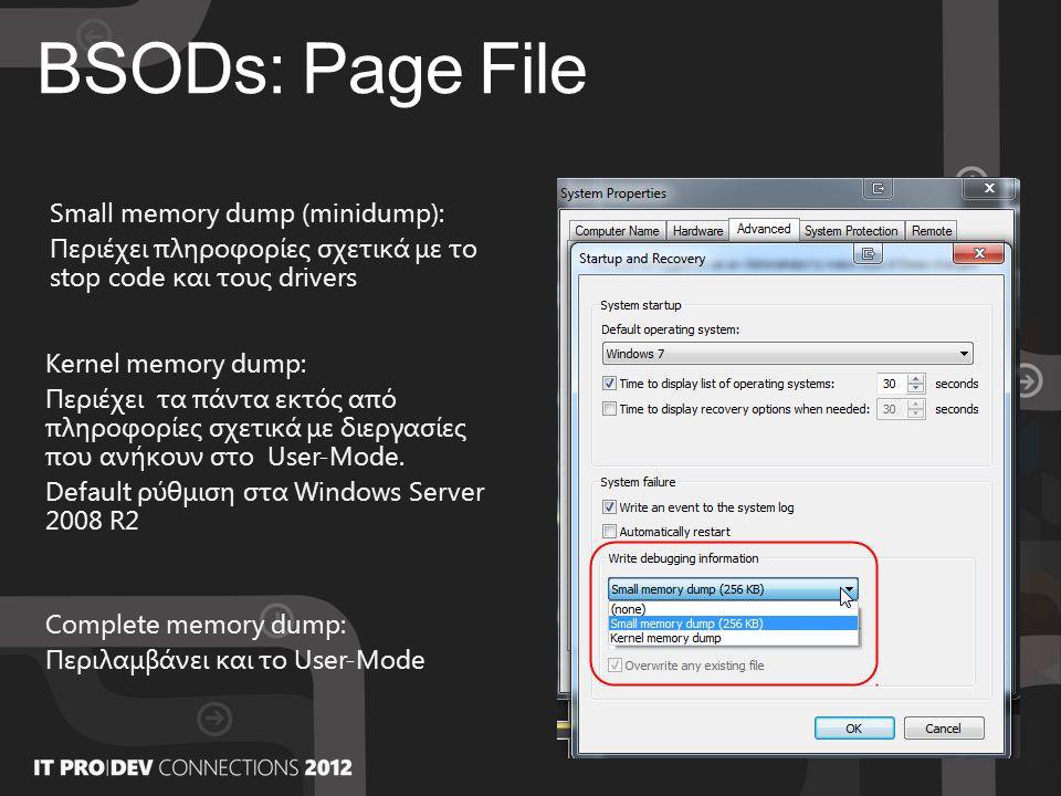 BSODs: Page File Small memory dump (minidump): Περιέχει πληροφορίες σχετικά με το stop code και τους drivers Kernel memory dump: Περιέχει τα πάντα εκτός από πληροφορίες σχετικά με διεργασίες που ανήκουν στο User-Mode.