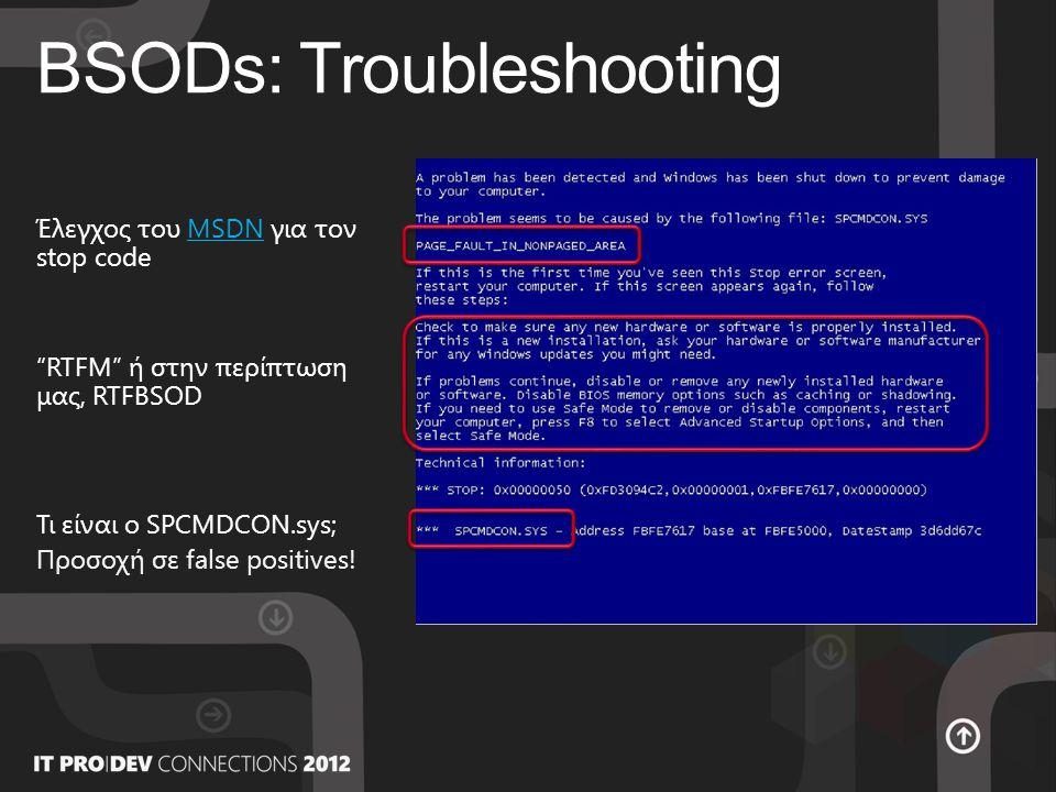 BSODs: Troubleshooting RTFM ή στην περίπτωση μας, RTFBSOD Έλεγχος του MSDN για τον stop codeMSDN Τι είναι ο SPCMDCON.sys; Προσοχή σε false positives!