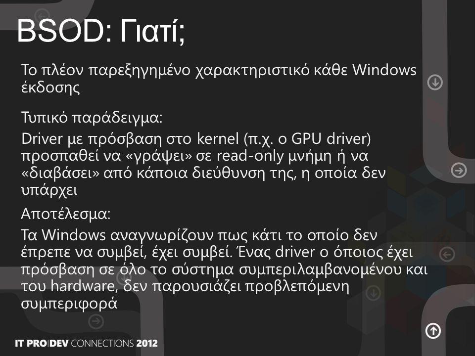 BSOD: Γιατί; Το πλέον παρεξηγημένο χαρακτηριστικό κάθε Windows έκδοσης Τυπικό παράδειγμα: Driver με πρόσβαση στο kernel (π.χ.