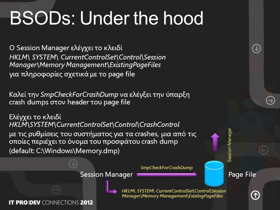 BSODs: Under the hood Page File Temp dump Crash dump Session Manager WerFault Ελέγχει εάν το page file βρίσκεται σε διαφορετικό σκληρό δίσκο με το crash dump που ετοιμάζεται να γράψει.