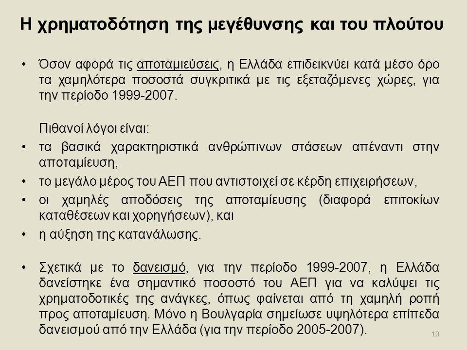 10 Η χρηματοδότηση της μεγέθυνσης και του πλούτου •Όσον αφορά τις αποταμιεύσεις, η Ελλάδα επιδεικνύει κατά μέσο όρο τα χαμηλότερα ποσοστά συγκριτικά μ