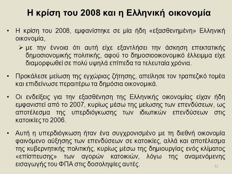 12 Η κρίση του 2008 και η Ελληνική οικονομία •Η κρίση του 2008, εμφανίστηκε σε μία ήδη «εξασθενημένη» Ελληνική οικονομία,  με την έννοια ότι αυτή είχ