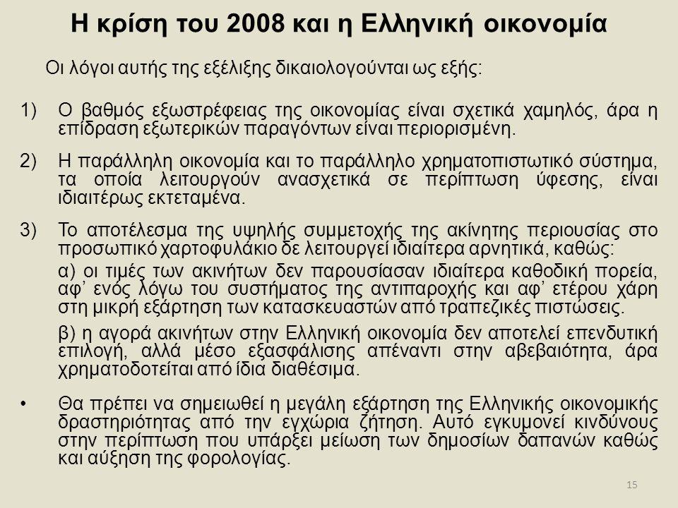 15 Η κρίση του 2008 και η Ελληνική οικονομία Οι λόγοι αυτής της εξέλιξης δικαιολογούνται ως εξής: 1)Ο βαθμός εξωστρέφειας της οικονομίας είναι σχετικά