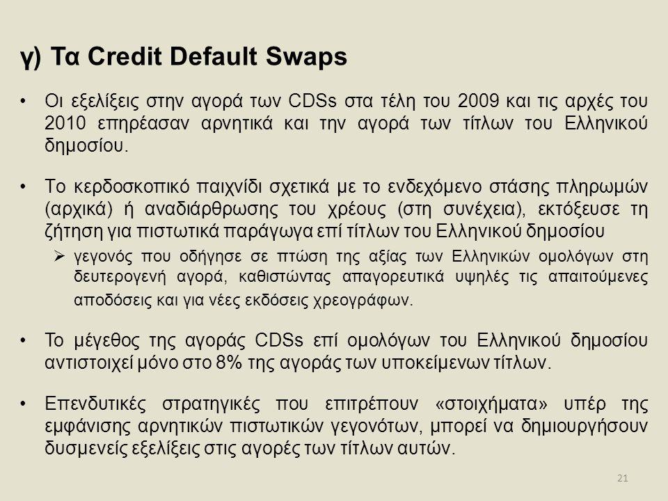21 γ) Τα Credit Default Swaps •Οι εξελίξεις στην αγορά των CDSs στα τέλη του 2009 και τις αρχές του 2010 επηρέασαν αρνητικά και την αγορά των τίτλων τ