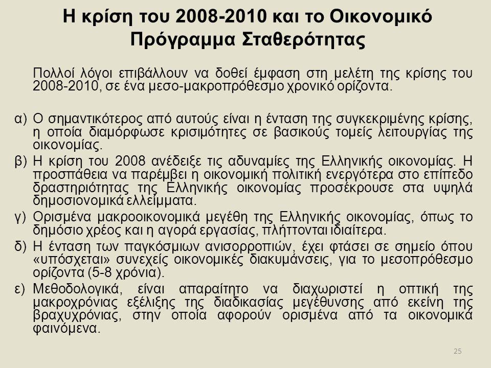 25 Η κρίση του 2008-2010 και το Οικονομικό Πρόγραμμα Σταθερότητας Πολλοί λόγοι επιβάλλουν να δοθεί έμφαση στη μελέτη της κρίσης του 2008-2010, σε ένα